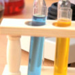 Elementary lab equipment for early learning science in close-up — Stock Video