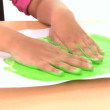 Young child early learning with hand painting - Stock Photo