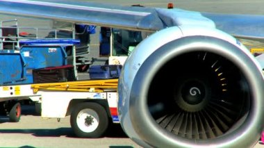 Commercial jet airliner unloading passenger baggage — Stock Video