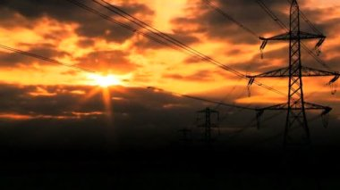 Collection of commercial scenes of fossil fuel production at sunset — Stock Video