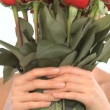 Stock Video: Young oriental japanese girl enjoying therapeutic pleasure of flowers