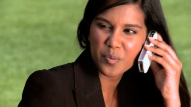 Ambitious young city businesswoman talking on a mobile(cell) phone