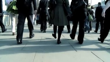 City business commuters in slow motion — Stock Video
