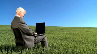 Concept shot of city businessman using modern technology in an environmental office — Stock Video