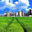 Concept shot of city skyscrapers in a  clean environmental field - Stock Photo