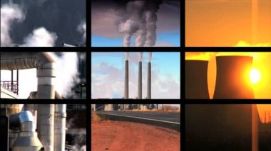 Montage collection showing multiple images of clean environments ,renewable energy sources & energy pollutants — Stock Video