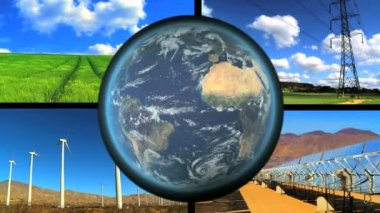 Montage collection of renewable energy sources with revolving earth graphic — Stock Video
