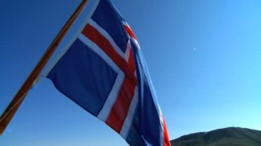 Icelandic national flag moving with the wind — 图库视频影像