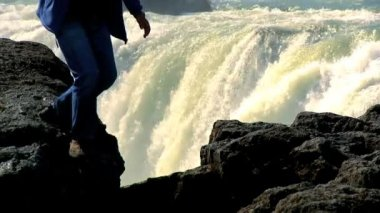 Eco-tourism at Godafoss Waterfall, Iceland — Stock Video
