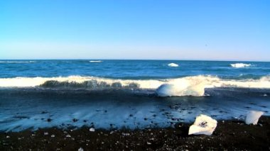 Melting glacial ice from climate change washed up on an arctic beach — Stock Video #20296577