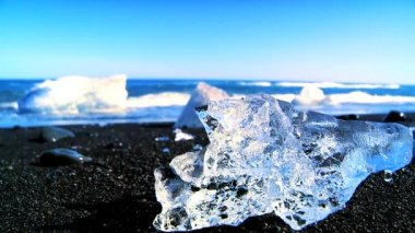 Melting glacial ice from climate change washed up on an arctic beach 60 FPS