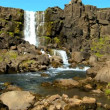 Melting glacial waters on Icelandic fault line flowing from Pingvellir waterfall - Stock Photo