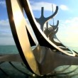 Modern sculpture of a viking boat depicting Icelandic history in Reykjavik, Iceland - Stock Photo