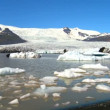 Female eco-tourist seeing jokulsarlon glacier melting into a lake through global warming - Stock Photo
