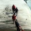 Team of climbing the largest glacier in Europe - Foto Stock