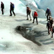 Team of climbing the largest glacier in Europe — Stock Video