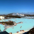 Geothermal hot springs providing therapy spa waters & distant energy plant — Stock Video