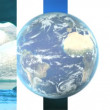 Moving graphics of melting icebergs & earth globe rotating — Stock Video