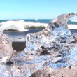 Stock Video: Melting glacial ice from climate change washed up on arctic beach