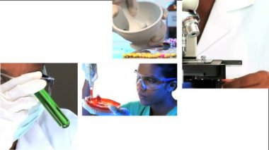 Montage of images of scientific & medical research — Stock Video