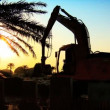 Mechanical excavator in silhouette,working on building site at sunset - Stockfoto