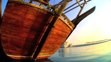 Traditional wooden fishing dhow at anchor — Stockvideo