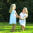Young child sisters having fun together outdoors on a summers day — Stock Video