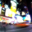 Times Square, New York City, USA time-lapse at night with fish-eye - Stock Photo