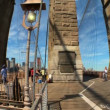 Motion-jib with fish-eye view of pedestrians & gothic arches of Brooklyn Bridge — Stock Video