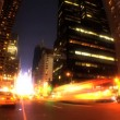 Night time-lapse fish-eye of traffic & lights on Broadway, New York City, USA — Stock Video