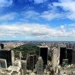 Time-lapse aerial shot of Central Park surrounded by skyscrapers in New York City — Stock Video #20878051
