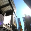 Fish-eye motion-jib view of traffic in Times Square, New York, City, USA - Stock Photo