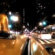 Point -of-view of yellow taxi cabs driving the streets at night in New York City, USA — Stock Video #20878539