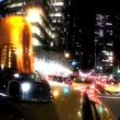 Point-of-view of yellow taxi cabs driving the streets at night in New York City, USA — Stock Video #20878627