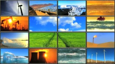 Montage in LCD of energy production affecting environmental damage — Stock Video