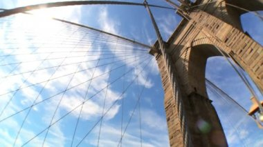Fish-eye high-angle view of cables & supports of Brooklyn Bridge — Stock Video