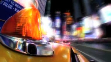 Point -of-view of yellow taxi cabs driving the streets at night in New York City, USA — Stock Video