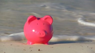 Pink money pig on a beach providing the reward of a travel lifestyle — Stock Video