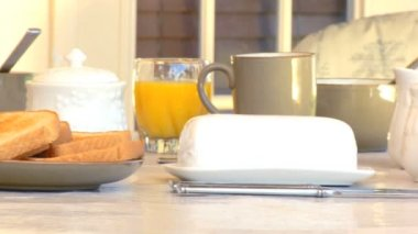 Breakfast table outdoors laid out with healthy food to start the day — Stock Video