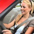 Successful young businesswoman enjoying the sunshine while driving her luxury open top car  — Stock Video