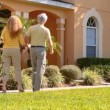 Attractive senior couple planning their retirement real estate property move — Stock Video #21047939