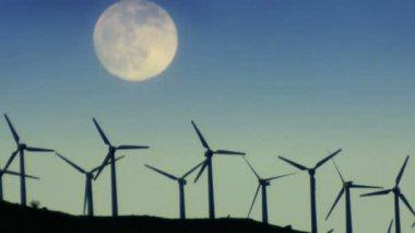 Wind Turbines at Night — Stock Video