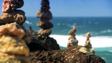 Serenity Stones with Ocean backdrop — Stock Video