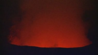 Volcanic Lava Skylight in Glowing Red Lava Tube — Stock Video