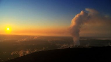 Sunset With Steam from a Volcanic Crater — Stock Video