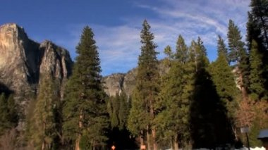 Driving in Yosemite National Park with Fish-eye — Stock Video