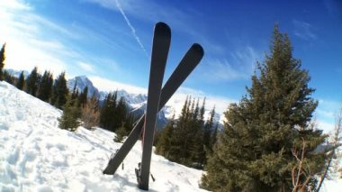 Crossed Carver Downhill Skis — Stock Video
