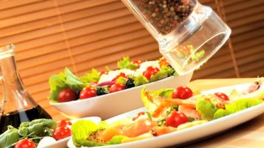 Seafood Salad & Pepper Seasoning — Stock Video