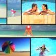 Faraway Vacation Travel Montage - Stock Photo