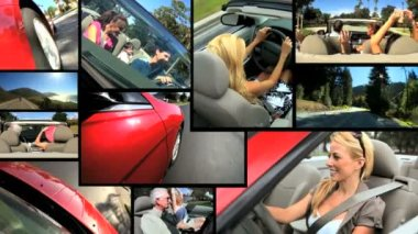 Cabriolet Summer Driving Montage — Stock Video